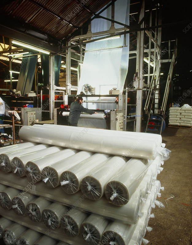 Rolls of recycled polythene after extrusion