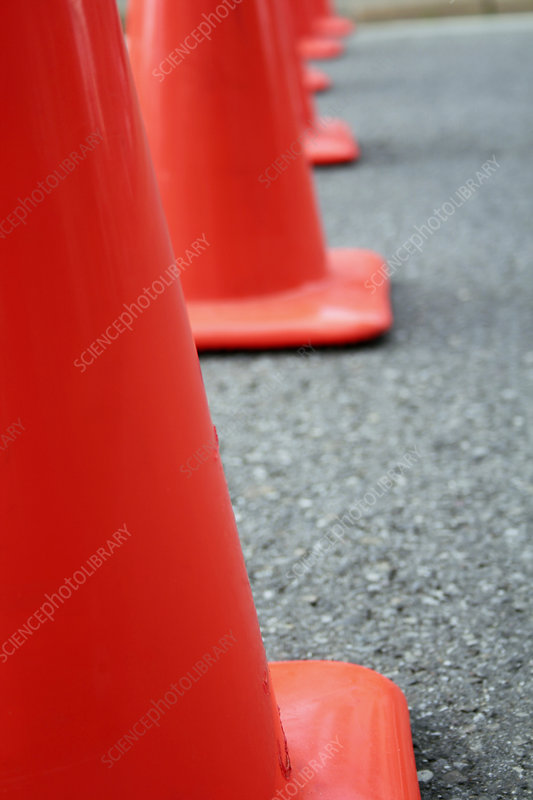 Traffic cones made from extruded plastic