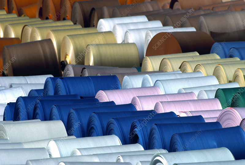 Rolls of coloured paper