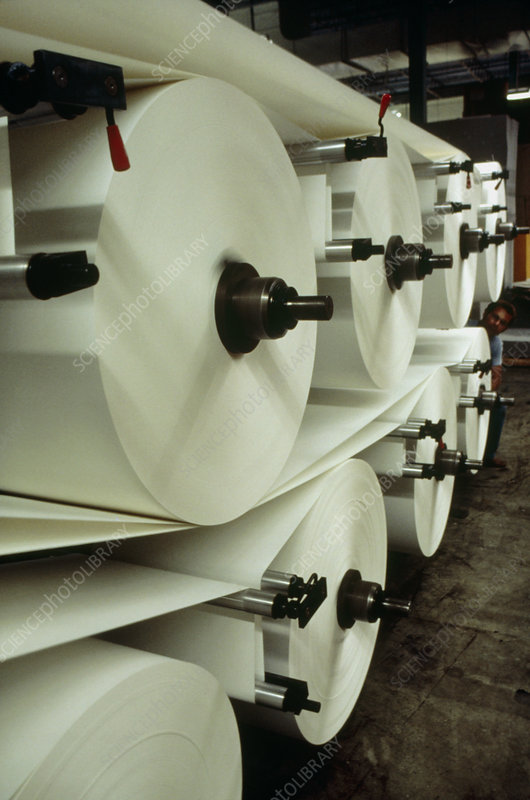 Rolls of paper at envelope factory