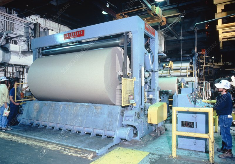 Roll of recycled card on printing press