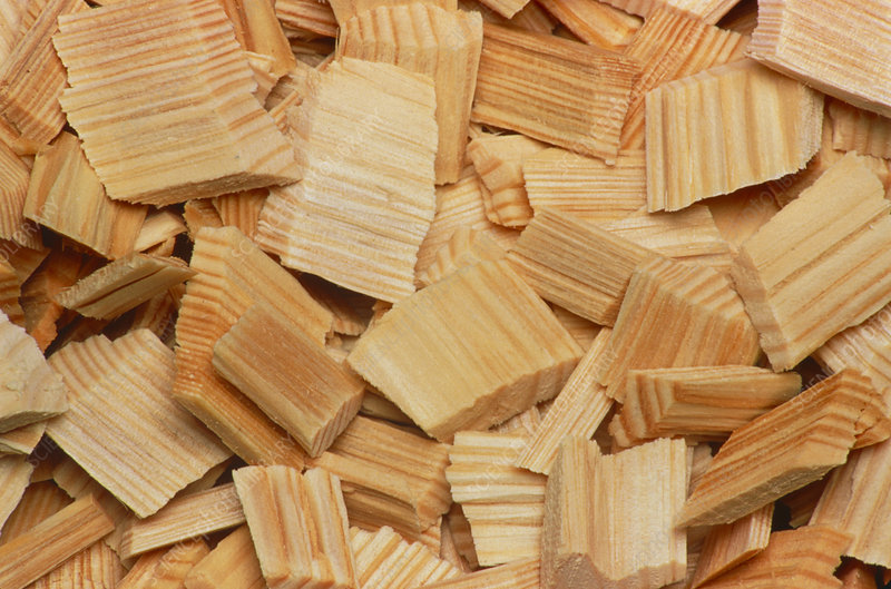 Close-up of wooden chips used for pulp manufacture
