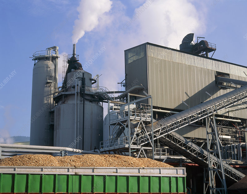 Container of wood chips outside a paper mill