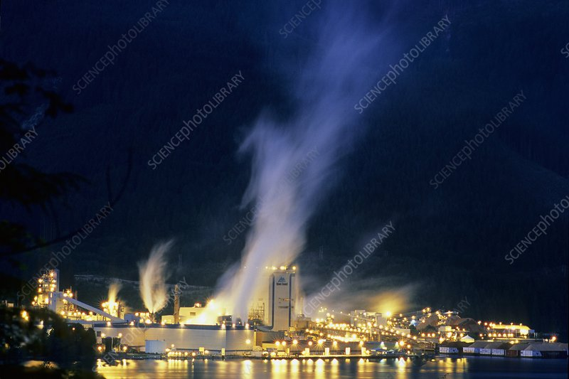 Paper mill at night, Canada
