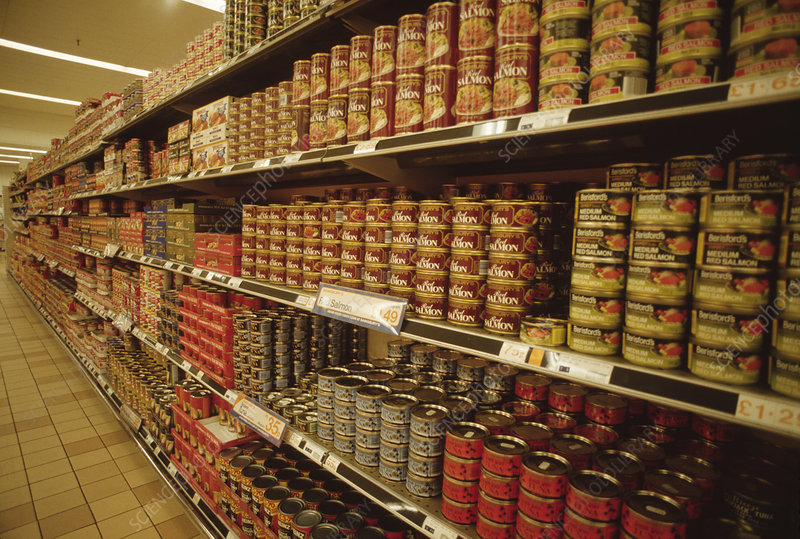 Rows of tinned foodstuffs on supermarket shelves.