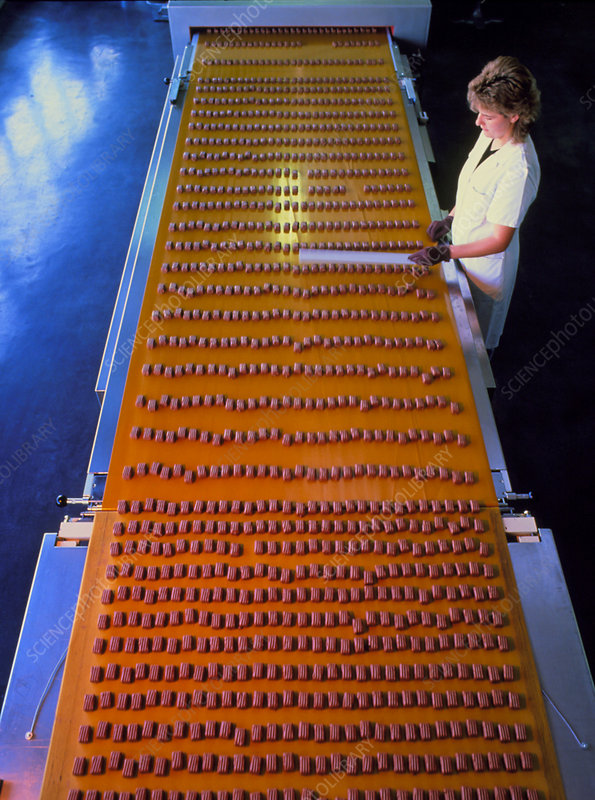 Woman working on a chocolate bar production line.