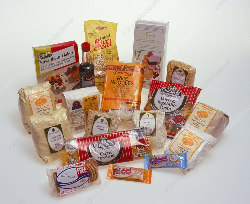 A selection of packaged gluten-free foods