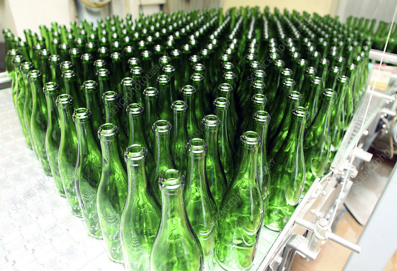 Bottles at a wine bottling factory