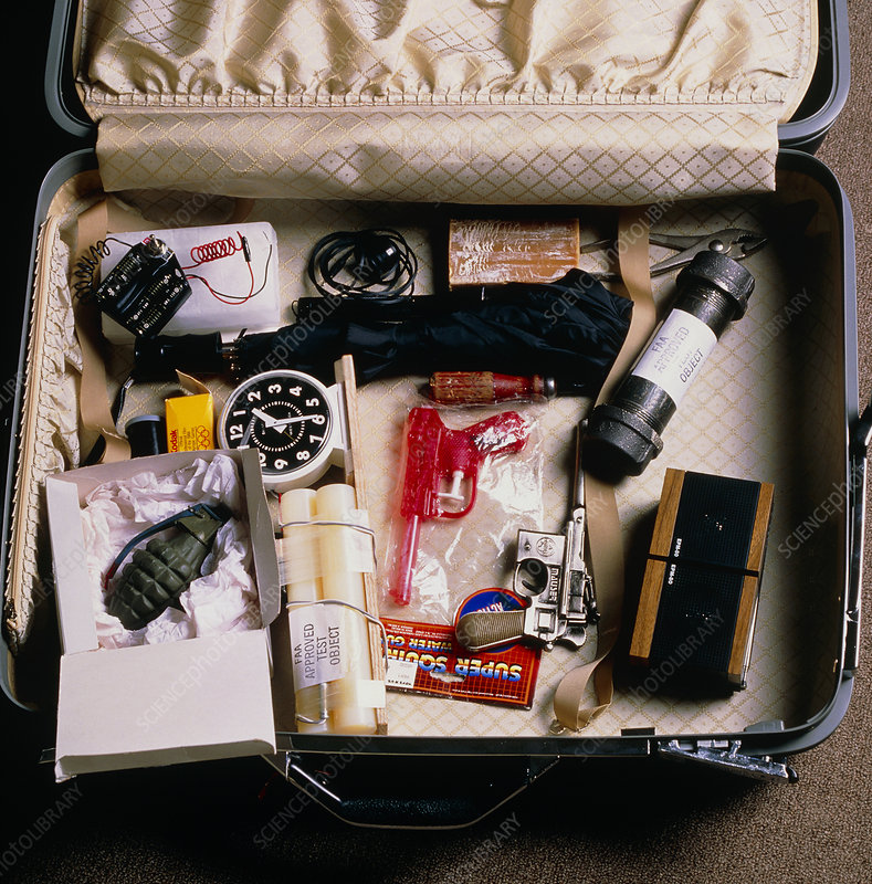 Suitcase containing test objects for airport X-ray