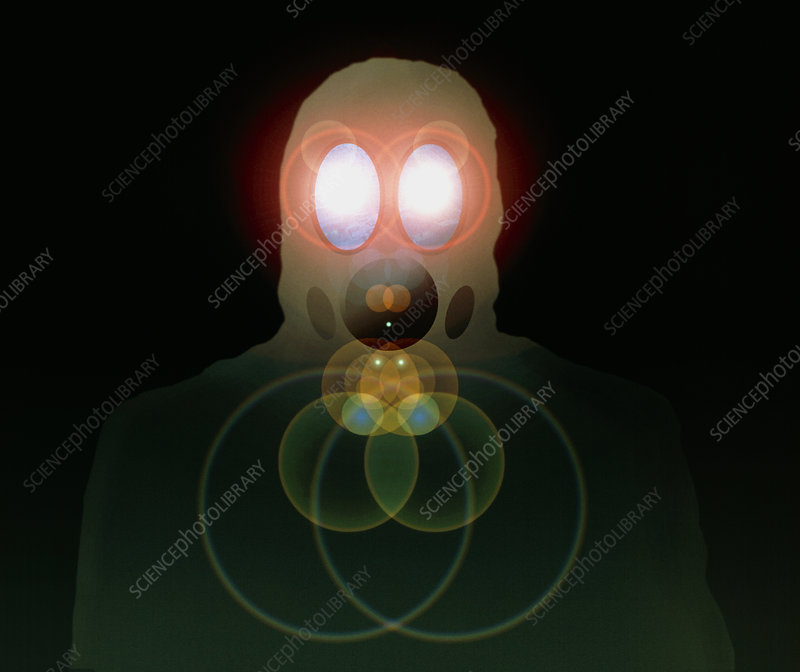 Computer artwork of a figure wearing a gas mask