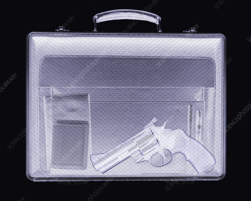 Handgun in briefcase, simulated X-ray
