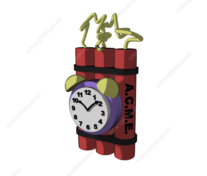 Time bomb with timer, cartoon