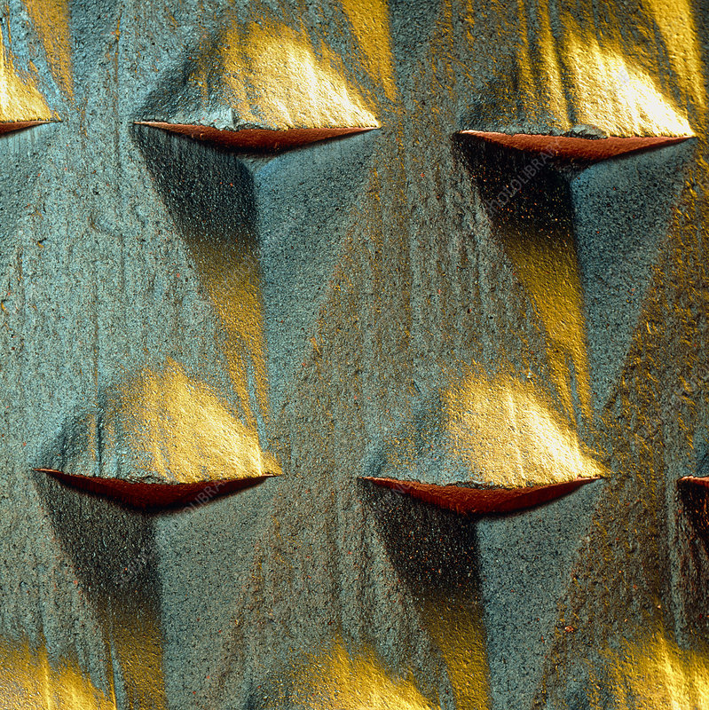 Coloured SEM of the teeth of a wood file or rasp