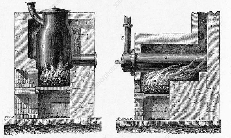 Coal distillation apparatus, 18th century