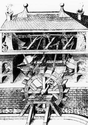 Water wheel powering bellows at a furnace