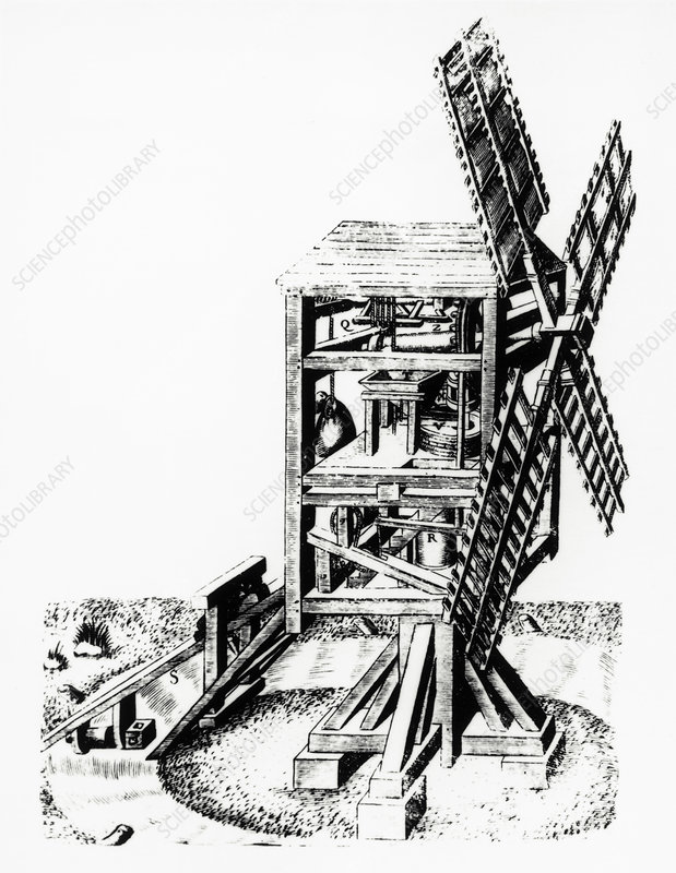 Cut-away artwork of a windmill for grinding corn