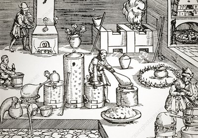 illustration sixteenth century assay laboratory,