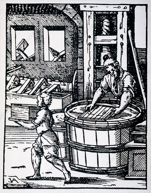 16th century woodcut showing paper making
