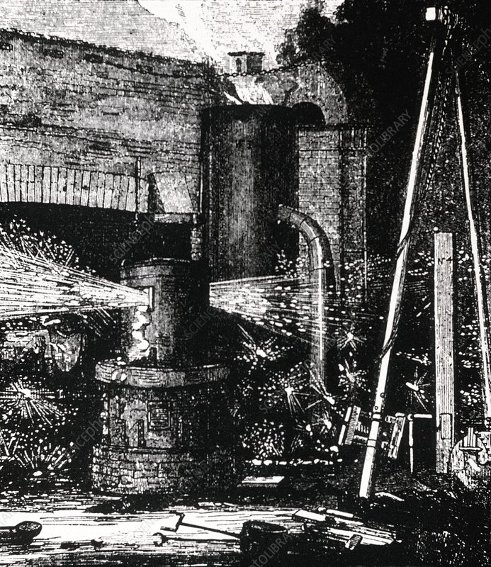 Engraving of upright Bessemer furnace, 1856