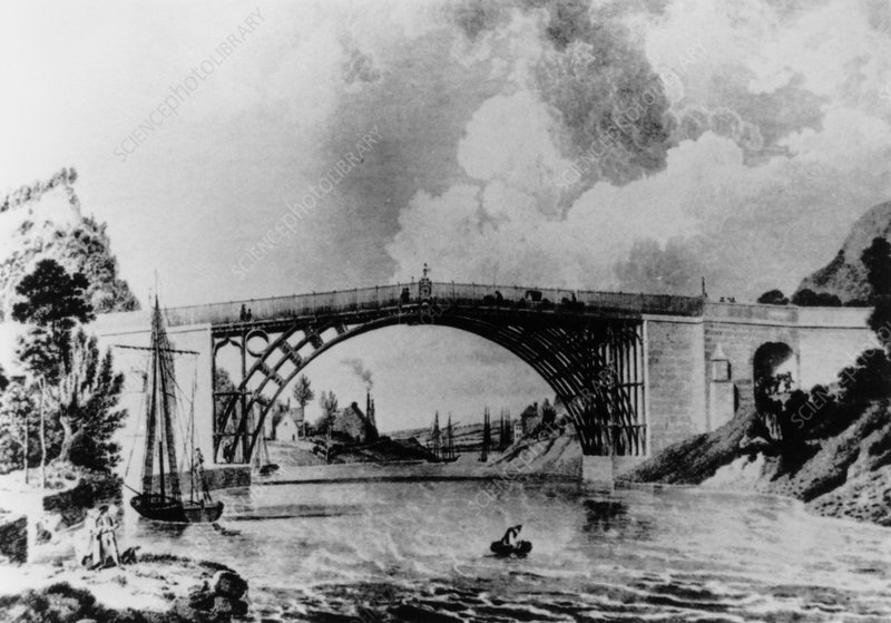 Engraving of Iron Bridge at Coalbrookdale, 1779