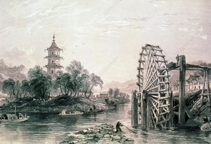 Engraving of Chinese bamboo water wheel