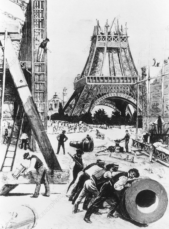 Illustration of the building of the Eiffel Tower.