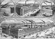 Aerial view of factories during the 19th century.