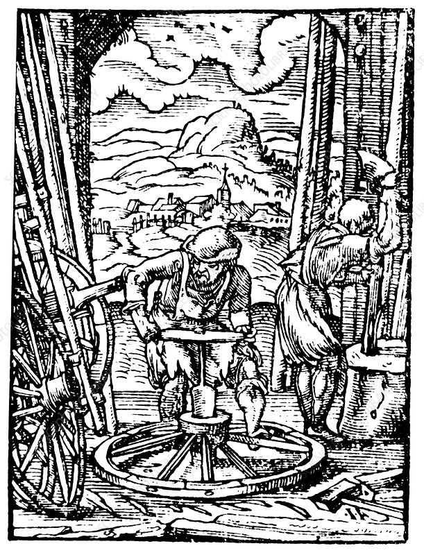 Engraving of wheel manufacture in the 16th century