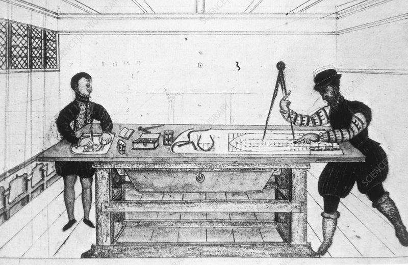 Artwork of 16th century engineers designing a ship