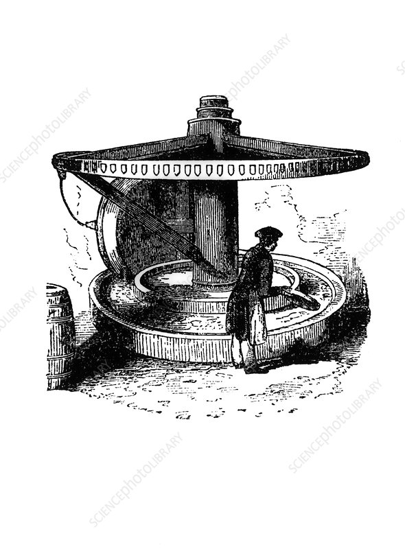 Engraving of flint grinding during pottery making