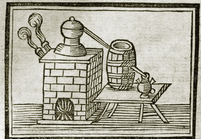 Engraving of a 17th century whisky distillery