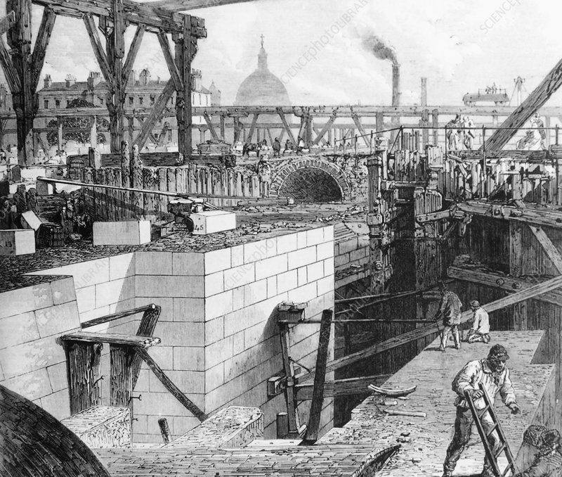 Engraving of river embankment construction, 1860s