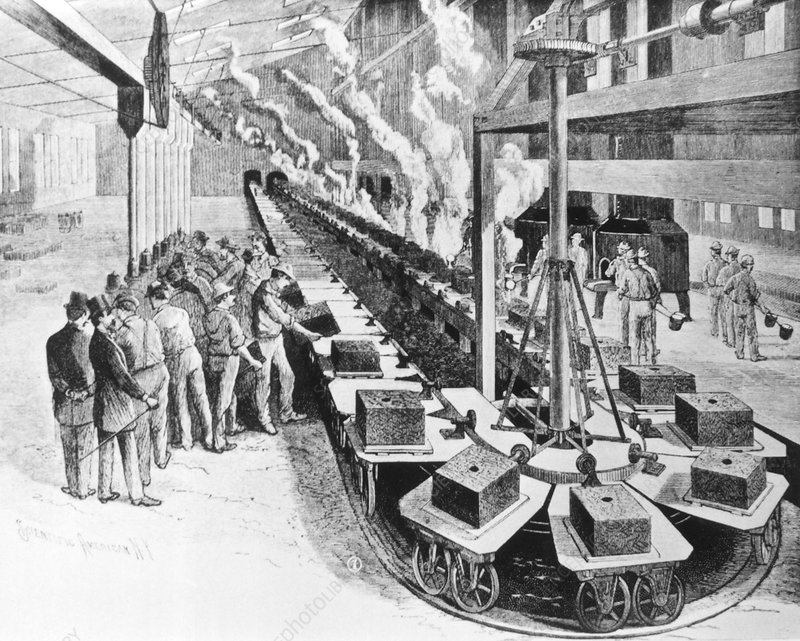 Historical engraving of an early production line