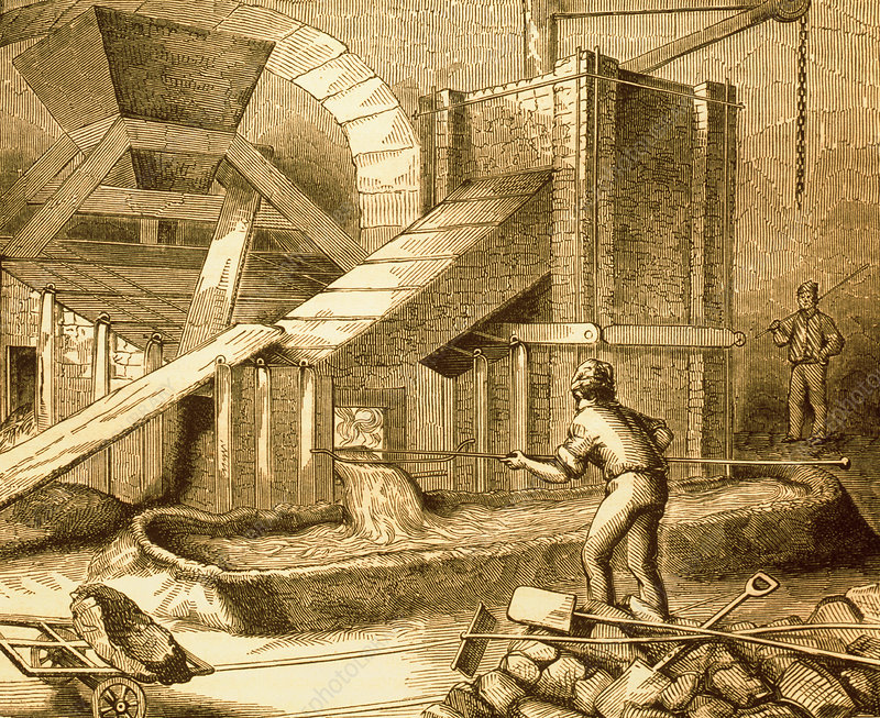 Historical artwork of copper furnace in operation