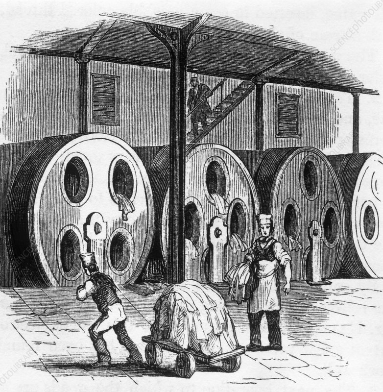 Historical engraving of the production of cloth