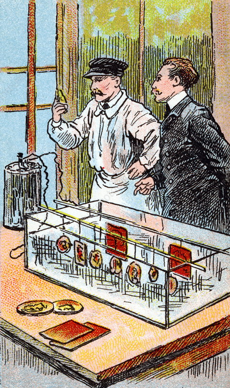 An early electroplating process. (http://www.sciencephoto.com/images/download_lo_res.html?id=862000126)