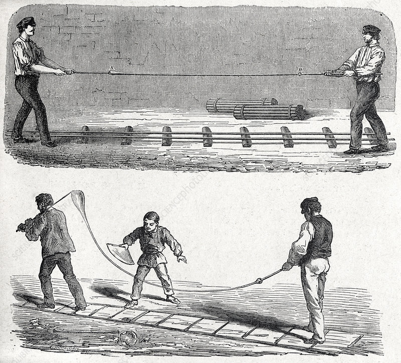 Glass tube making, 19th century