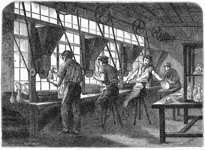 Crystal factory, 19th century