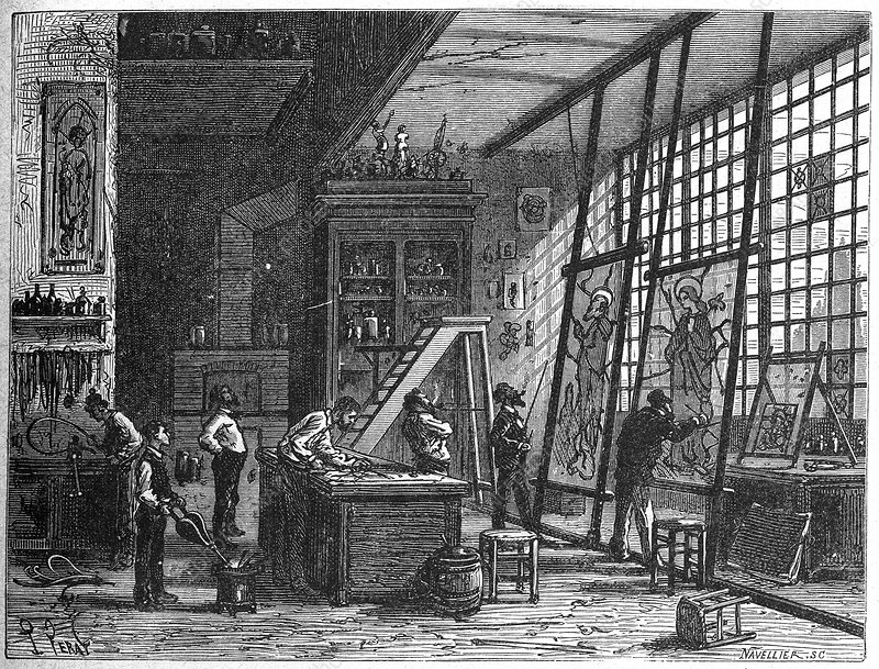 Stained glass workshop, 19th century