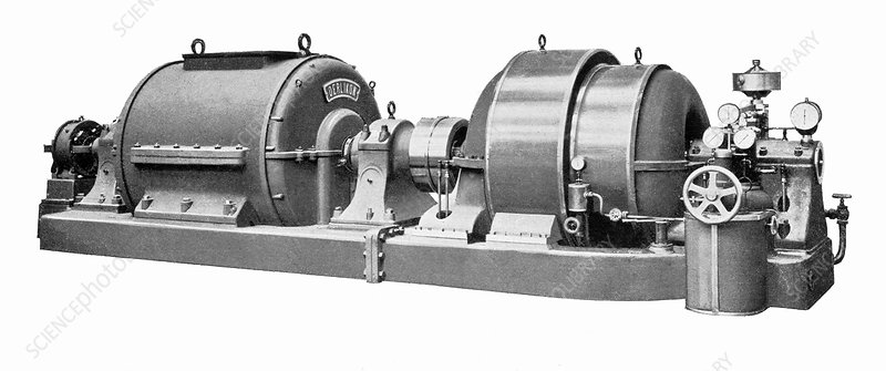 Rateau steam turbine and generator