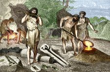 Early humans smelting bronze