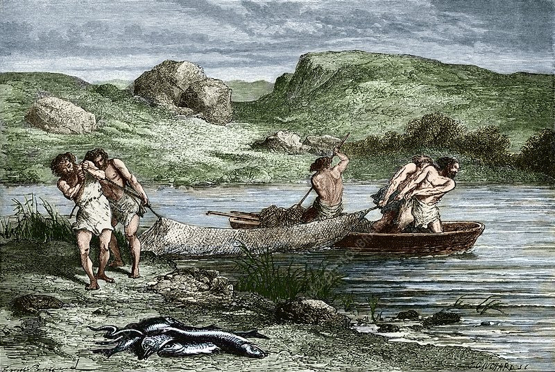 Early humans fishing