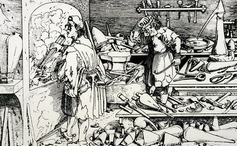 16th century woodcut showing an alchemist at work