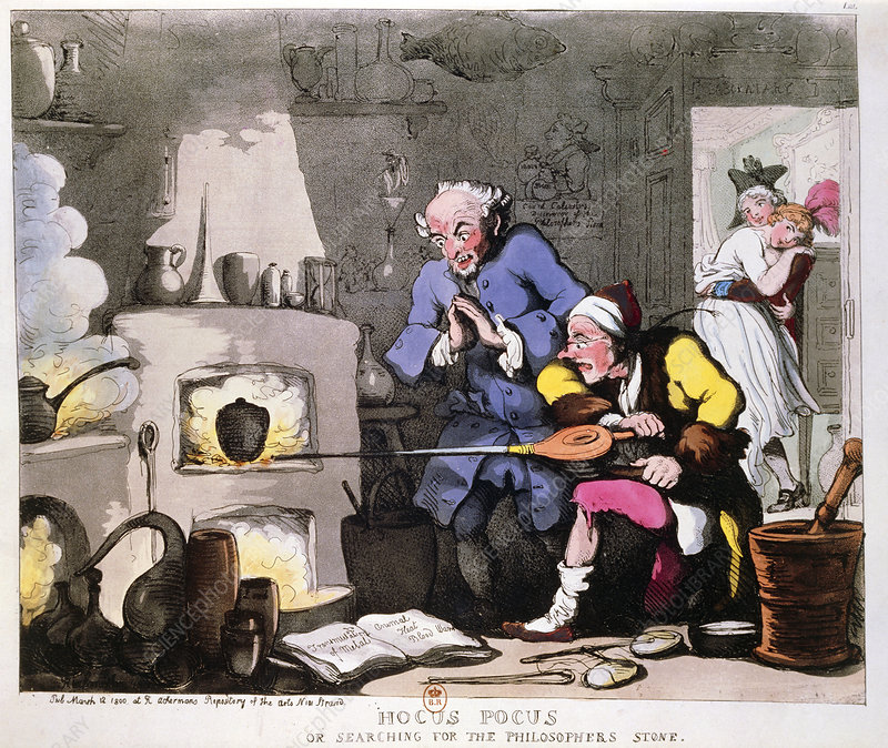 Hocus Pocus, caricature on alchemy by Rowlandson