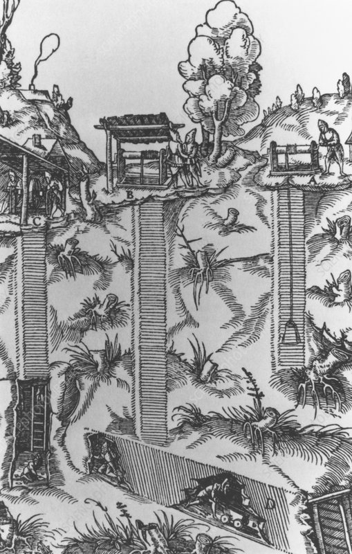 Illustration of coal mining in 16th century