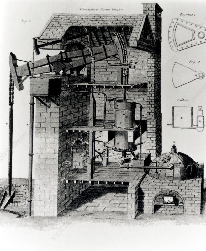 Engraving of Newcomen's atmospheric steam engine