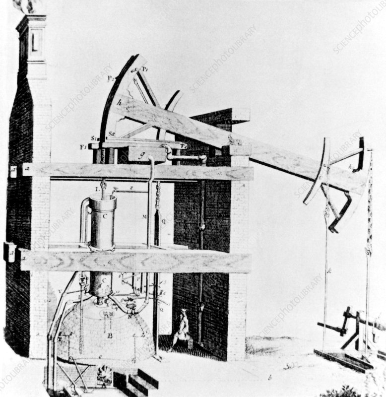 Newcomen's atmospheric steam engine for coal mine