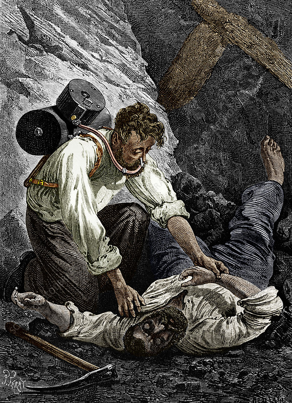 Coal mine rescue, 19th century