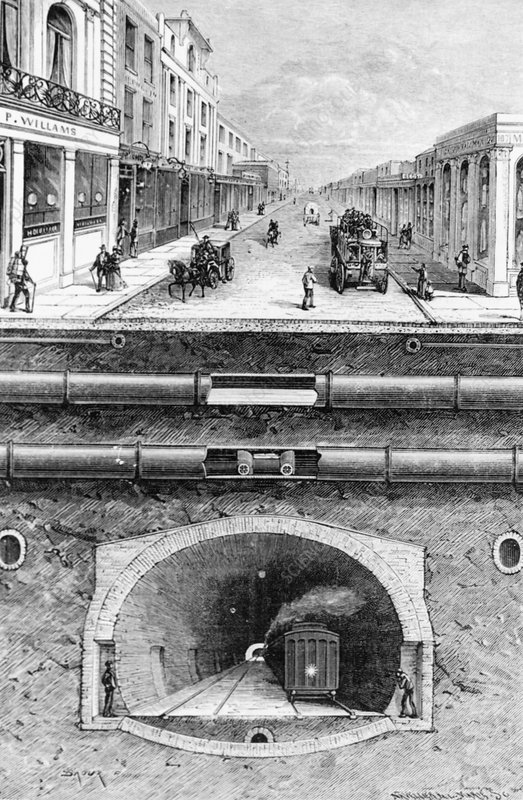 Sketch of London's pipes & tunnels, circa 1880