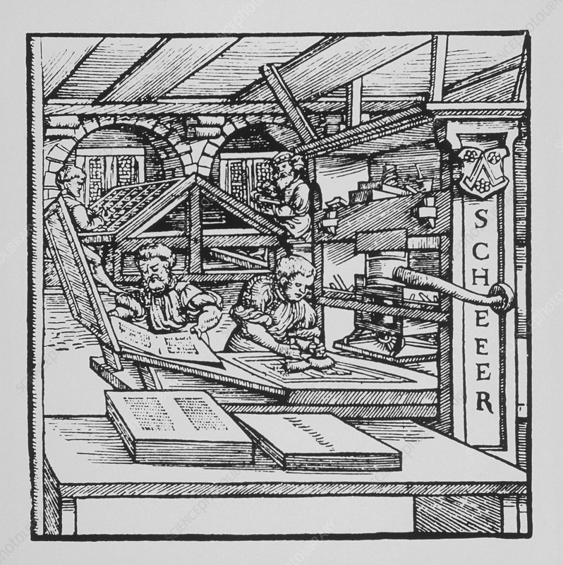 Engraving of a 16th century printing press